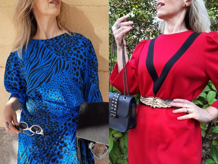 Stylée en robe vintage etbottes