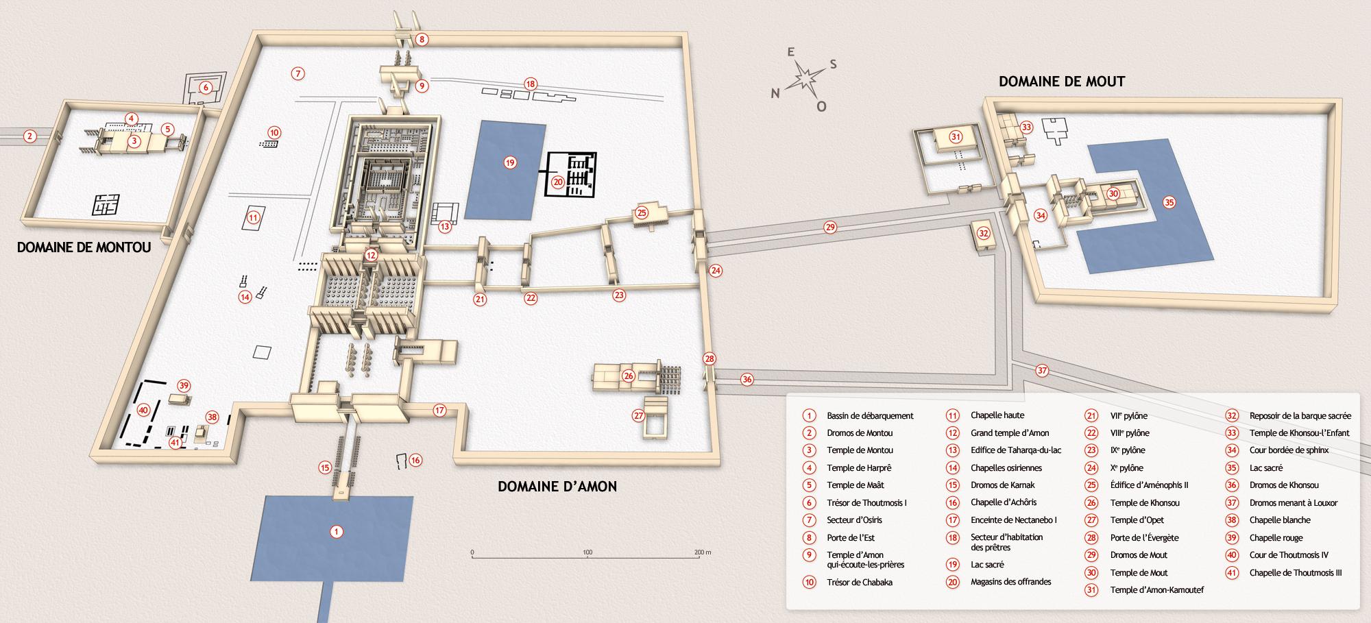 Plan du complexe funéraire de Karnak